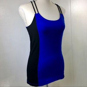 Alo Bicolor Black and Royal Blue Tank Top. S